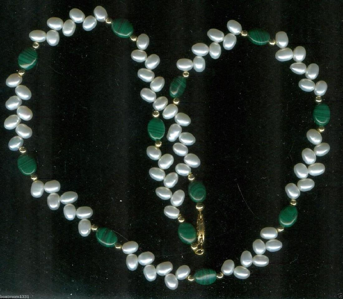 AAA Pearl & Gen. Malachite Vine Necklace w/14k GF beads - 2