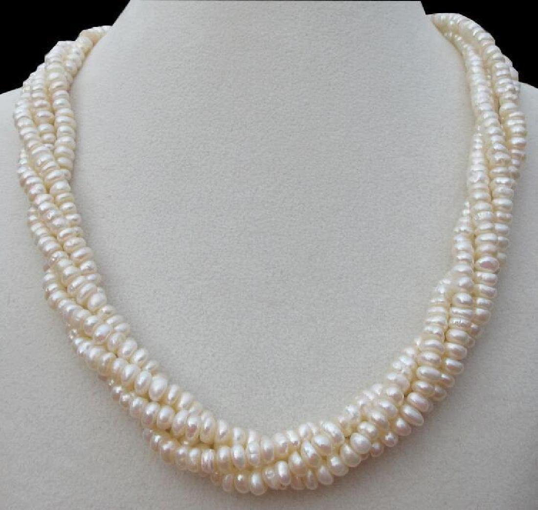 4 Row Aaa+++ South Sea White Seed Pearl Twisted