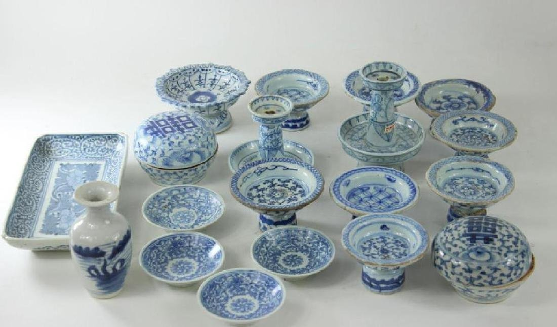 Antique Chinese Box Lot. Blue + White Porcelain