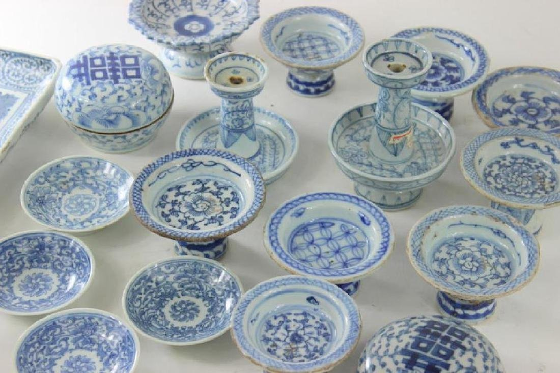 Antique Chinese Box Lot. Blue + White Porcelain - 2