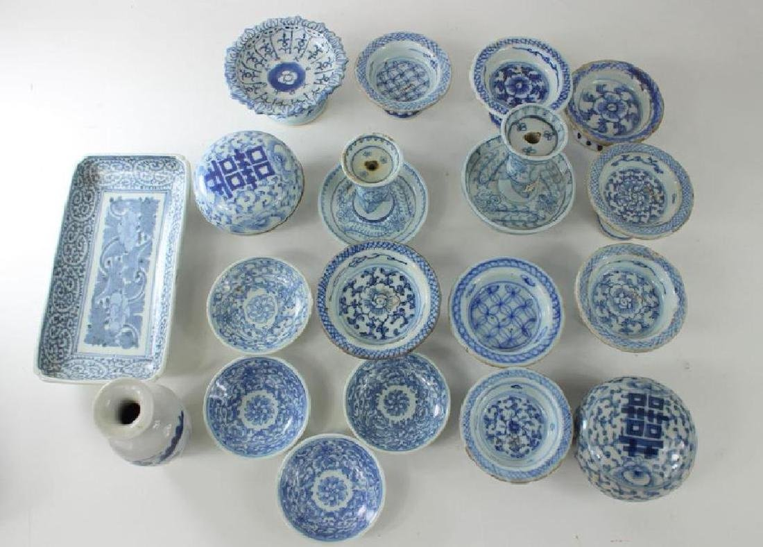 Antique Chinese Box Lot. Blue + White Porcelain - 3