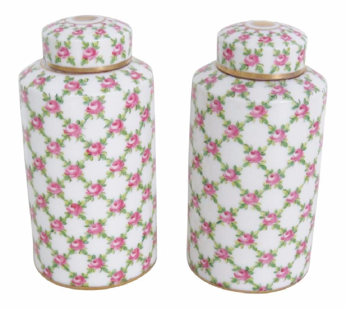 Pair Floral Paint Decorated Ceramic Jars
