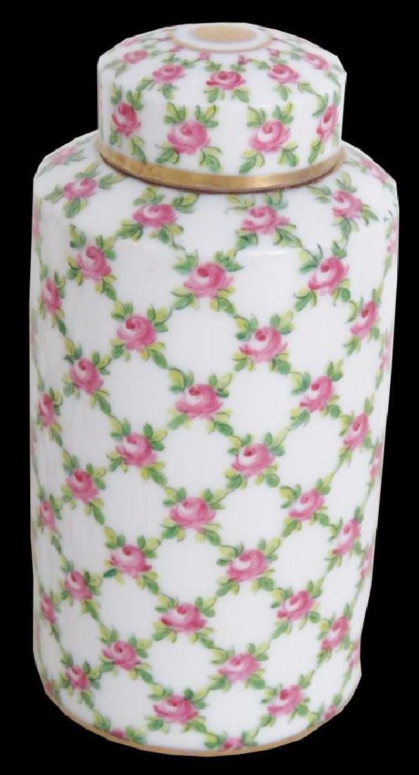 Pair Floral Paint Decorated Ceramic Jars - 2