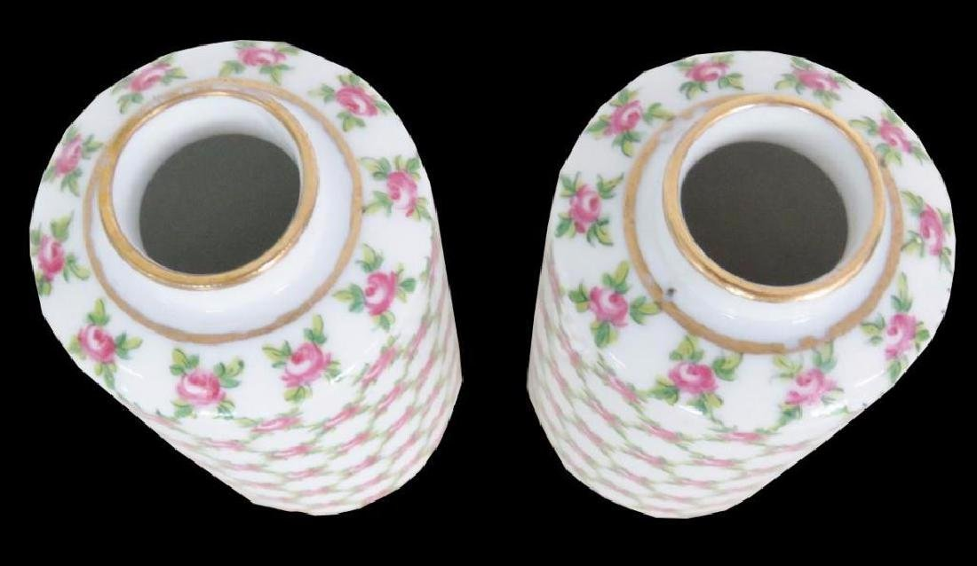 Pair Floral Paint Decorated Ceramic Jars - 3