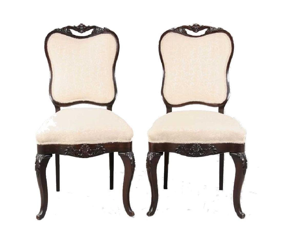 Pair of Mid19thc Carved Rosewood Side Chairs