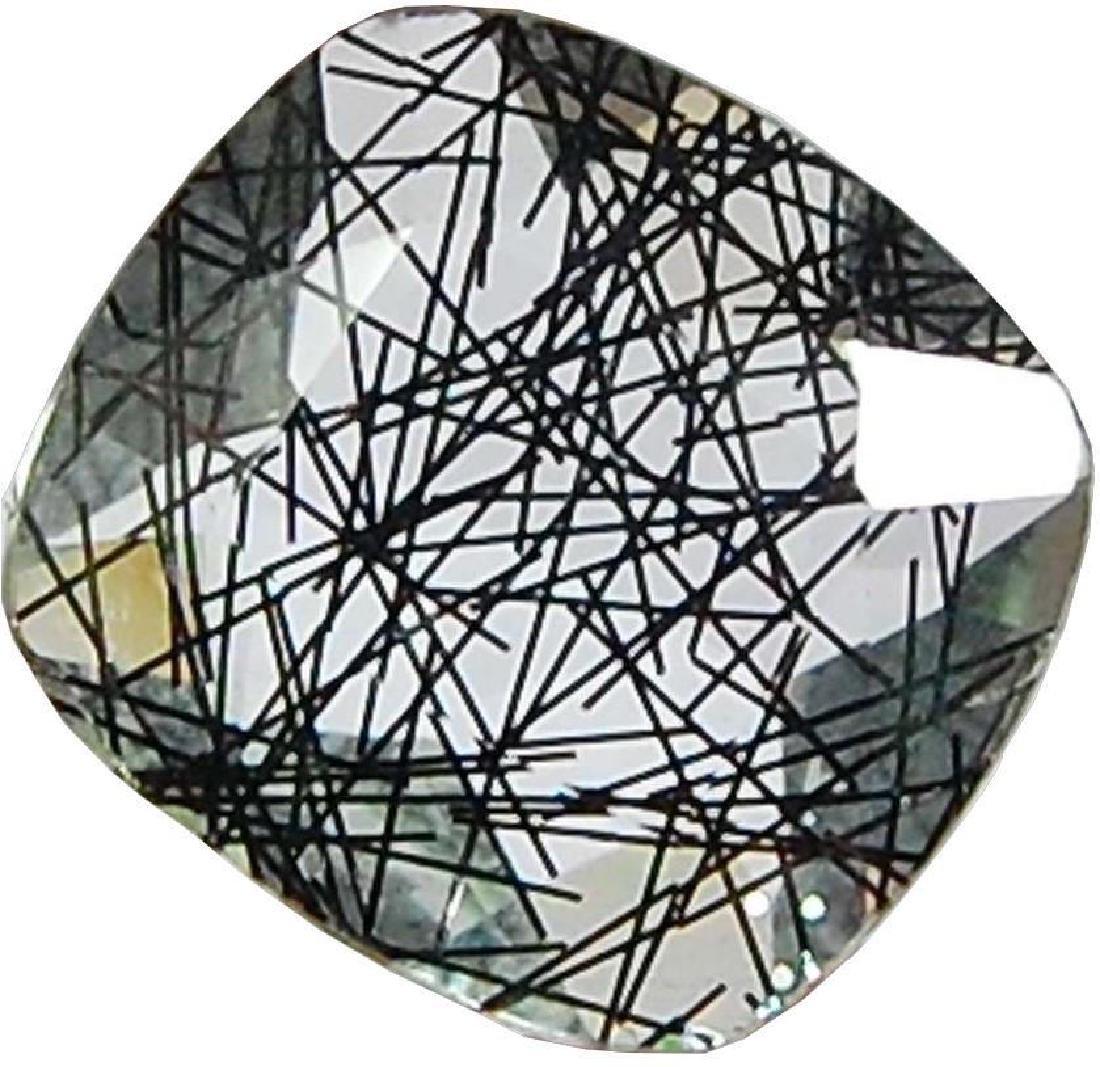 36.70 Cts Aaa Black Rutile Quartz Glass Translucent