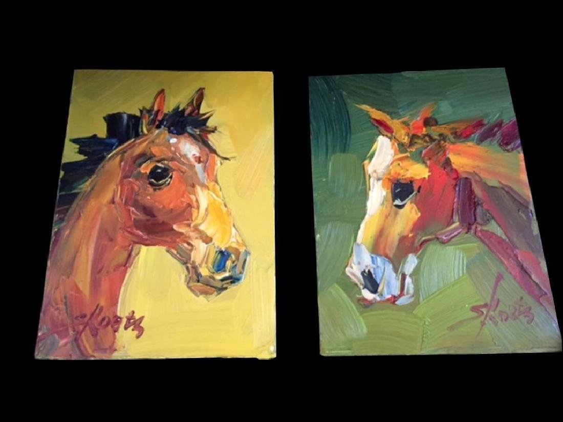 Pair of Signed Abstract Horses, Oil Paintings