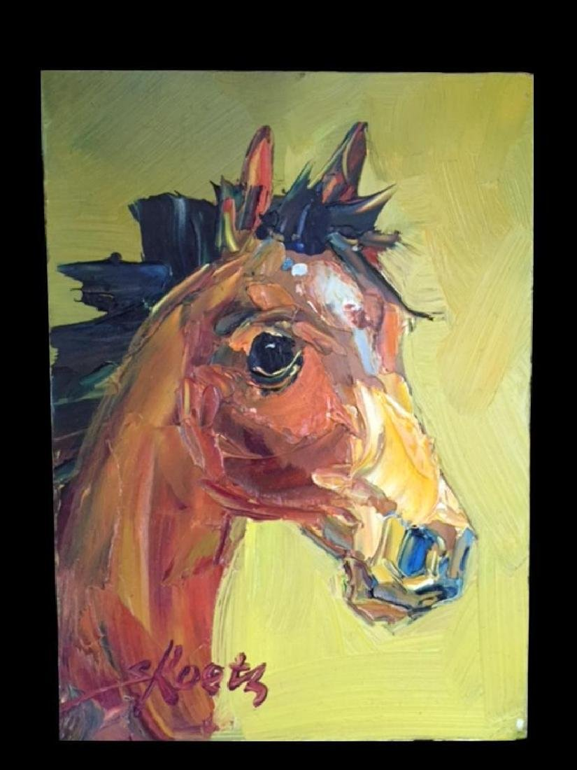 Pair of Signed Abstract Horses, Oil Paintings - 2