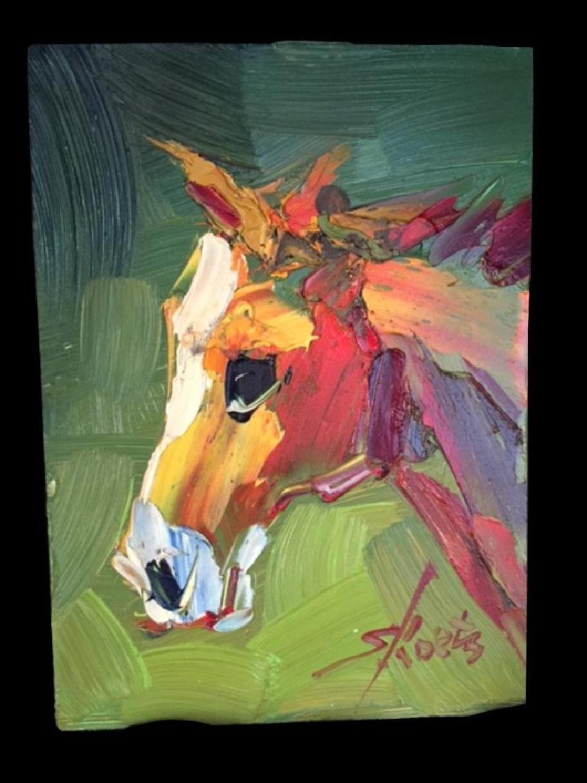 Pair of Signed Abstract Horses, Oil Paintings - 3