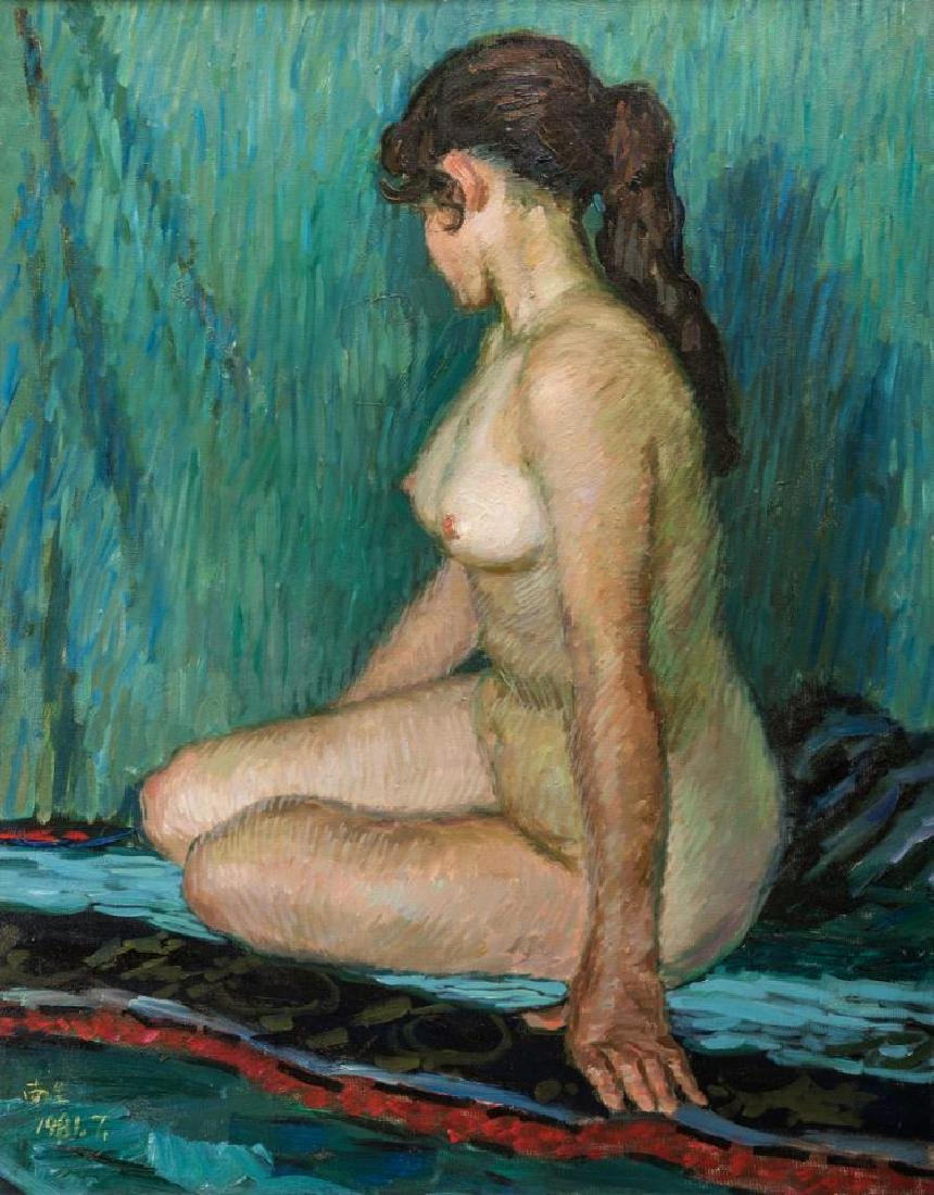 Signed Japanese O/C Impressionist Female Nude