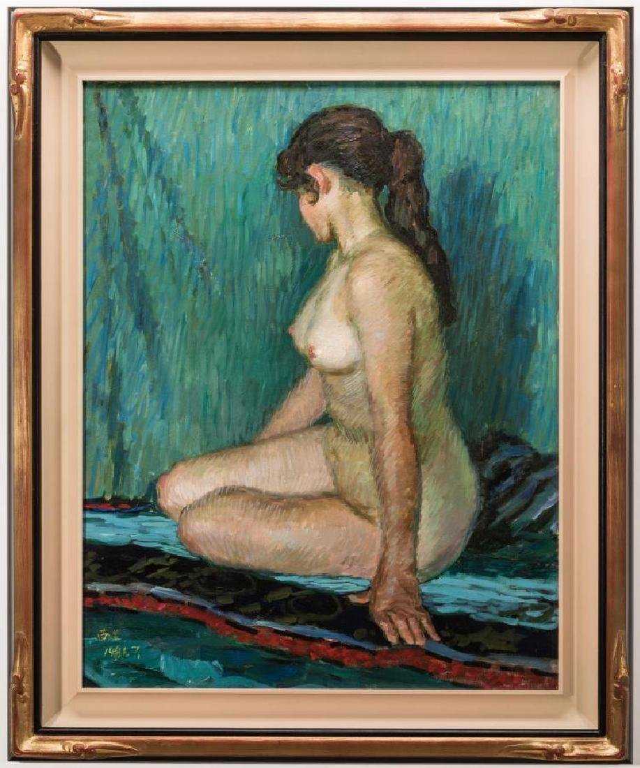 Signed Japanese O/C Impressionist Female Nude - 2