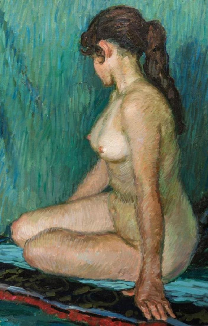 Signed Japanese O/C Impressionist Female Nude - 3