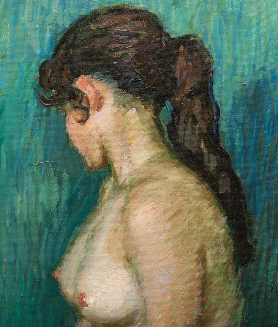 Signed Japanese O/C Impressionist Female Nude - 5