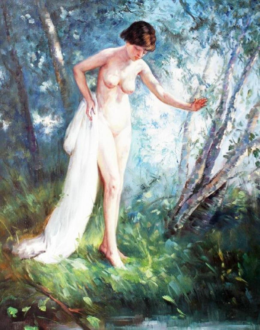 Impressionist Oil Painting, Forest Landscape Nude