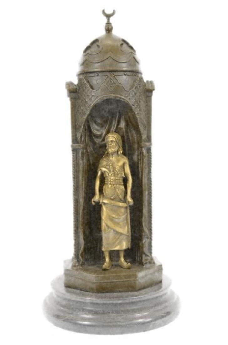Franz Bergman Arab Man Protecting a Slave Girl Bronze