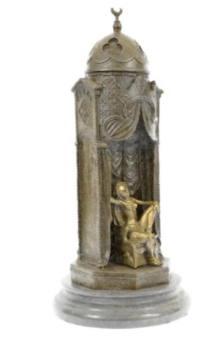 Franz Bergman Arab Man Protecting a Slave Girl Bronze - 4