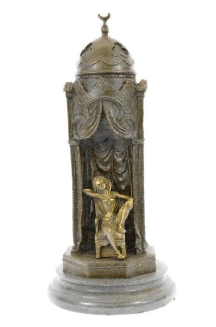 Franz Bergman Arab Man Protecting a Slave Girl Bronze - 5