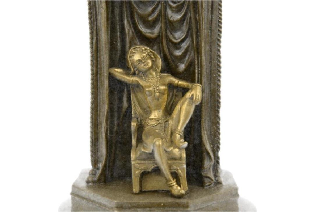 Franz Bergman Arab Man Protecting a Slave Girl Bronze - 7