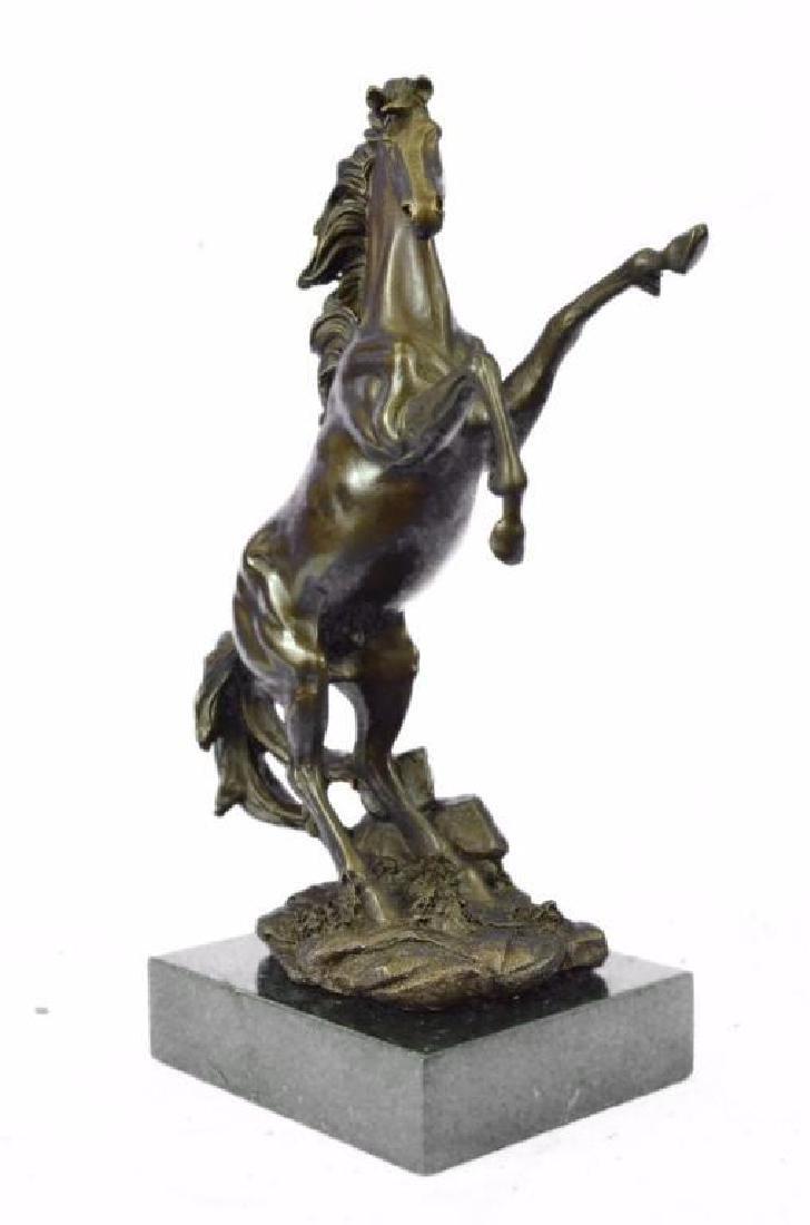Signed Barye Wild Stallion Horse Bronze Marble Base - 2