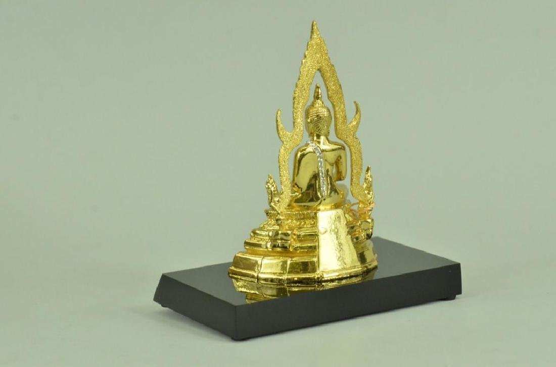 24kt Gold Plated Bronze Thai Buddha Statue - 2
