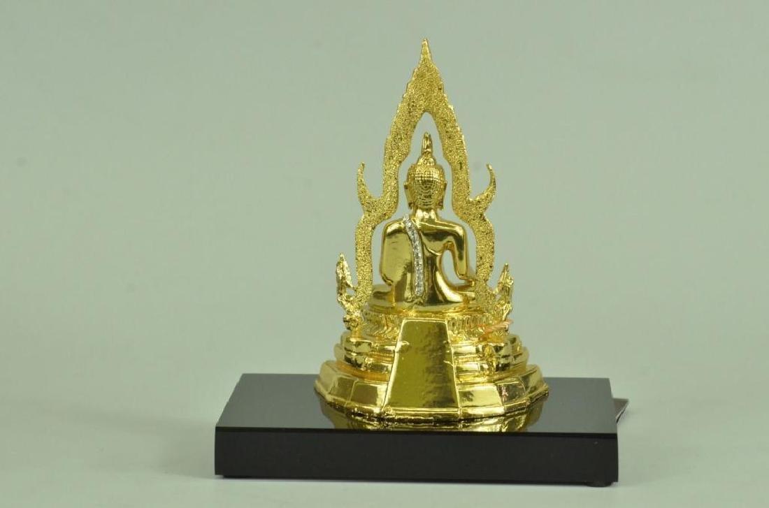 24kt Gold Plated Bronze Thai Buddha Statue - 3