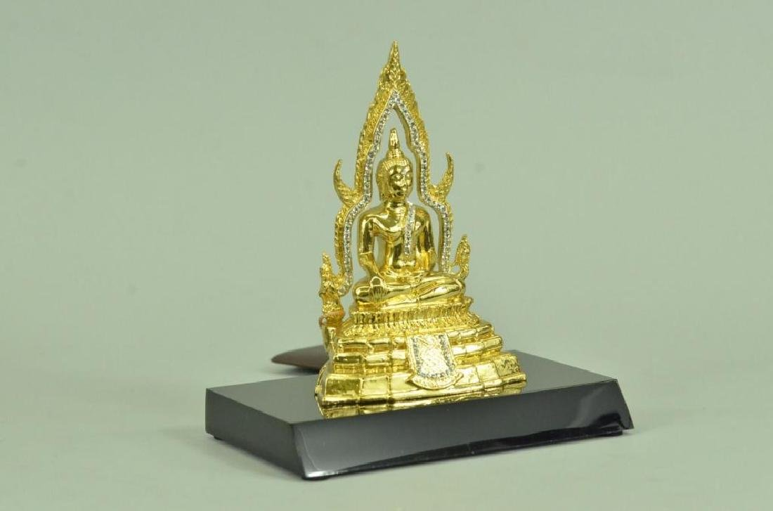 24kt Gold Plated Bronze Thai Buddha Statue - 4