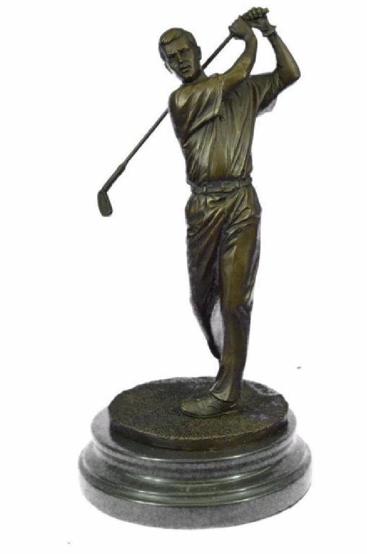 "13"" Tall Bronze Statue Vintage Golfer Golfing Trophy"
