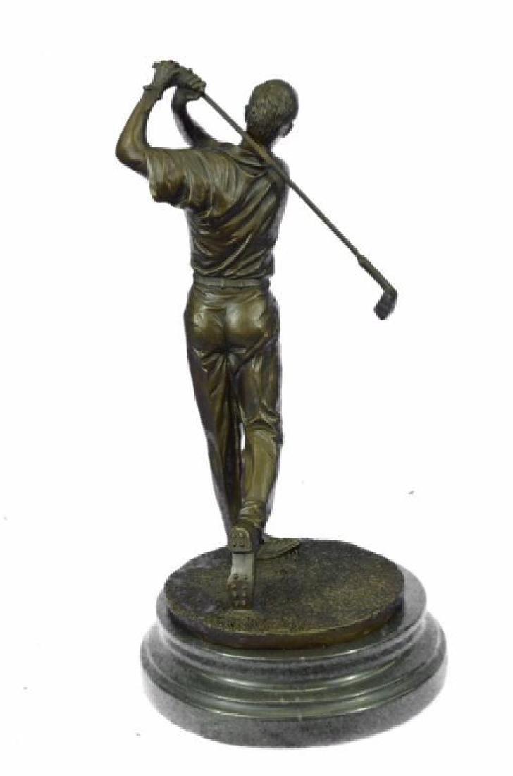 "13"" Tall Bronze Statue Vintage Golfer Golfing Trophy - 3"