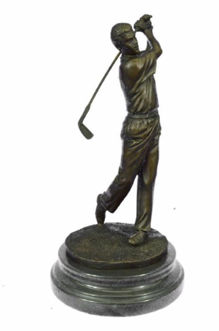 "13"" Tall Bronze Statue Vintage Golfer Golfing Trophy - 4"