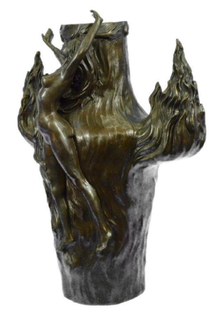 Genuine Bronze Metal Statue Nude Lady Girl Water Jug - 2
