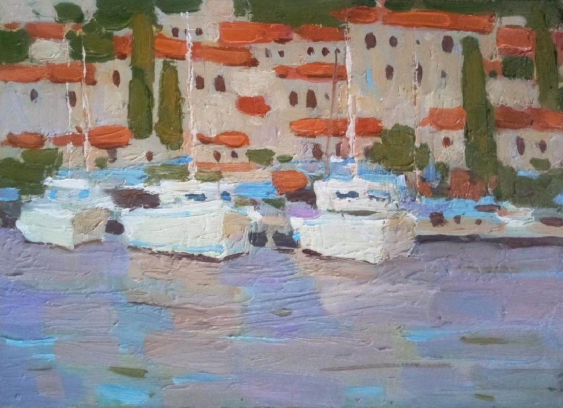 Yacht Seascape Impressionism Original Oil Painting
