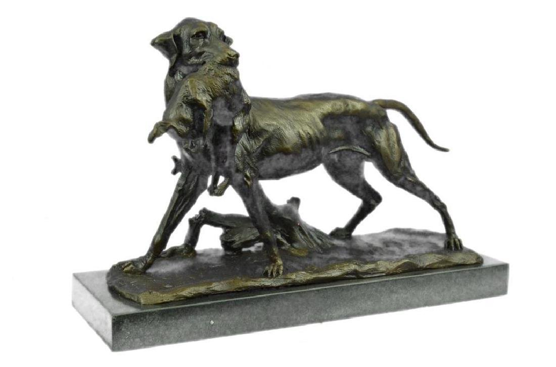 Hunting Dog with Rabbit Bronze Sculpture - 2