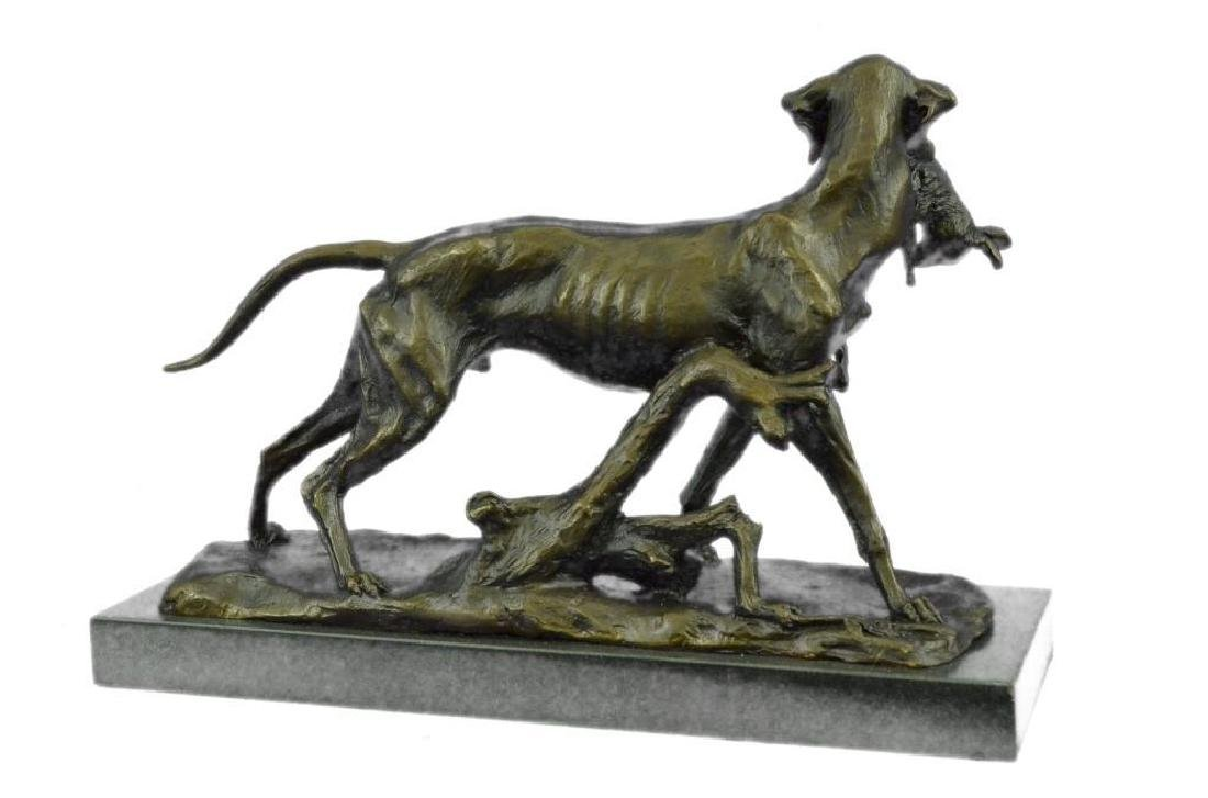 Hunting Dog with Rabbit Bronze Sculpture - 3