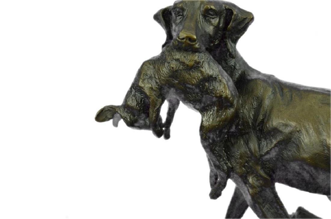 Hunting Dog with Rabbit Bronze Sculpture - 6
