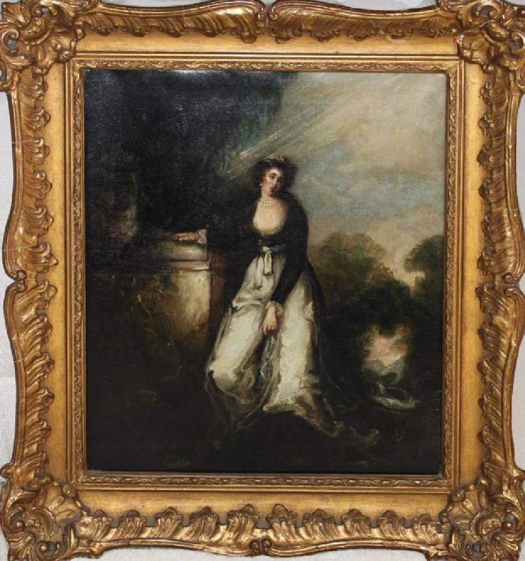 Romantic Period Portrait Oil on Board - 2