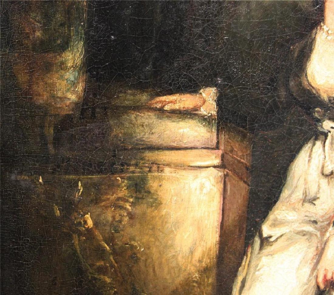 Romantic Period Portrait Oil on Board - 4
