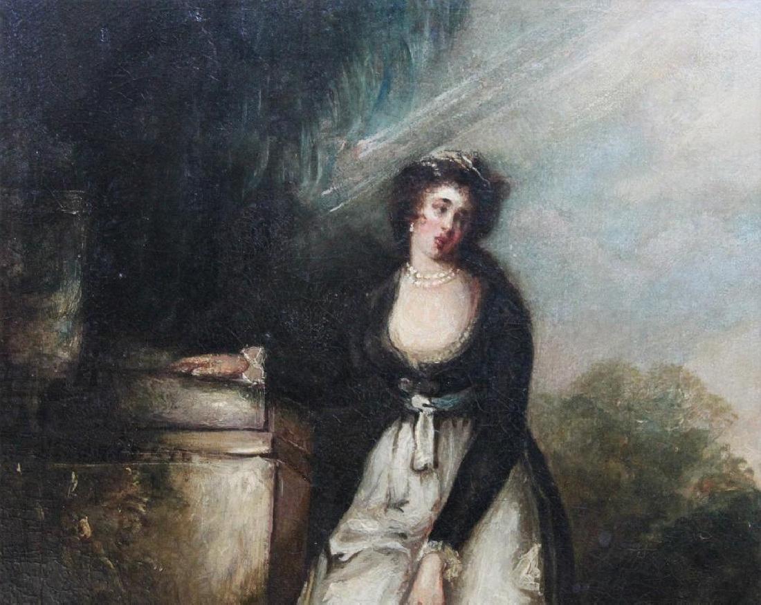 Romantic Period Portrait Oil on Board - 5