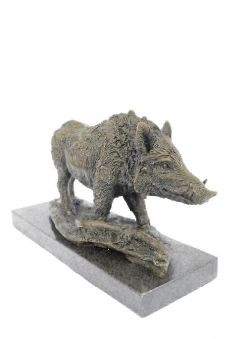 Art Deco Hot Cast Wild Pig Boar Farm Bronze Animal - 3