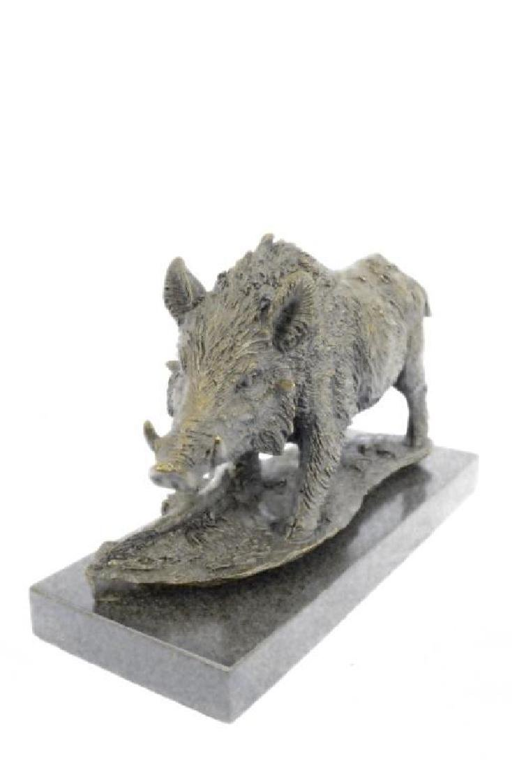 Art Deco Hot Cast Wild Pig Boar Farm Bronze Animal - 4