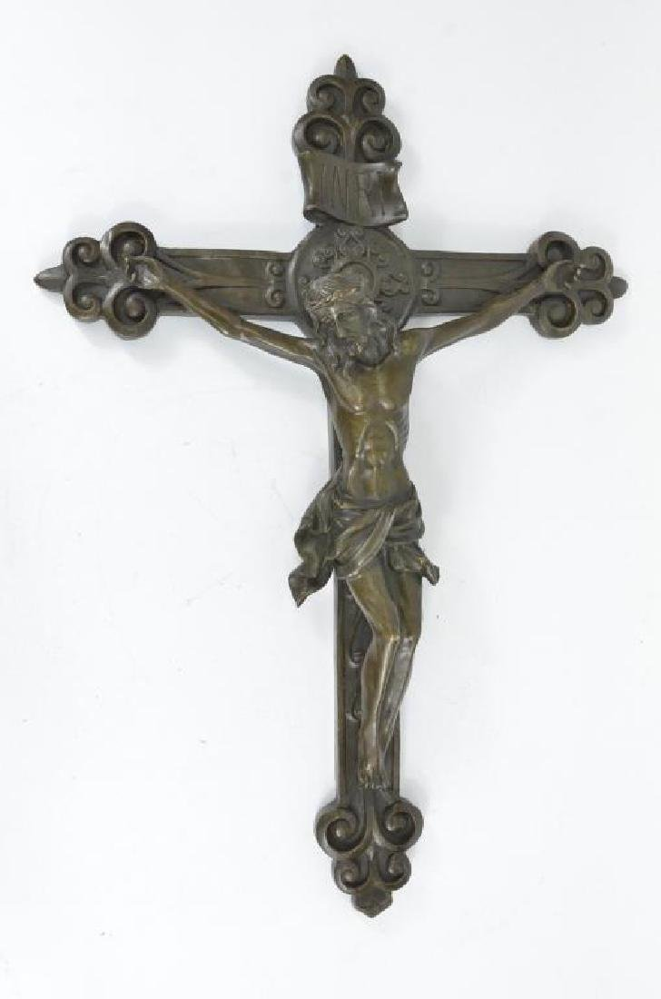 Rare Bronze Jesus' resurrection Cross Statue Hot Cast