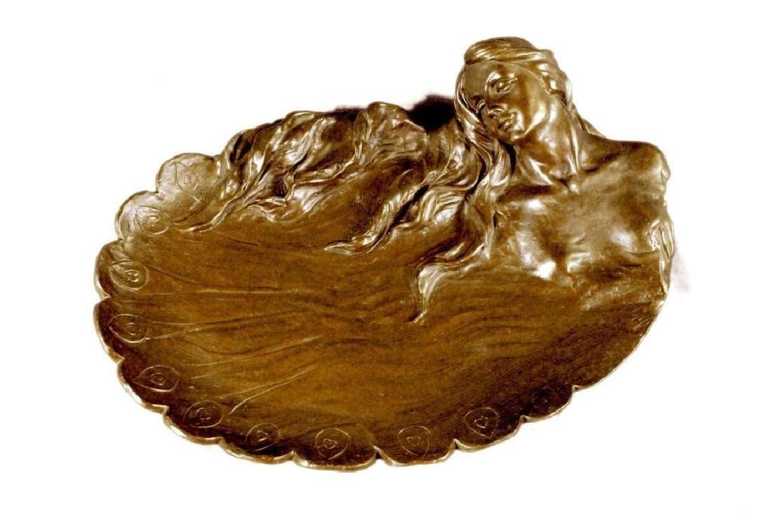 MERMAIDS Statue Jewelry Tray Bronze UNIQUE ART DECO