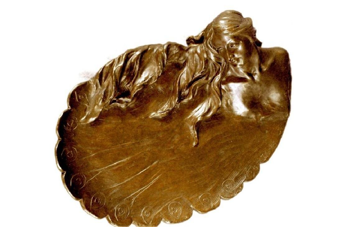 MERMAIDS Statue Jewelry Tray Bronze UNIQUE ART DECO - 2