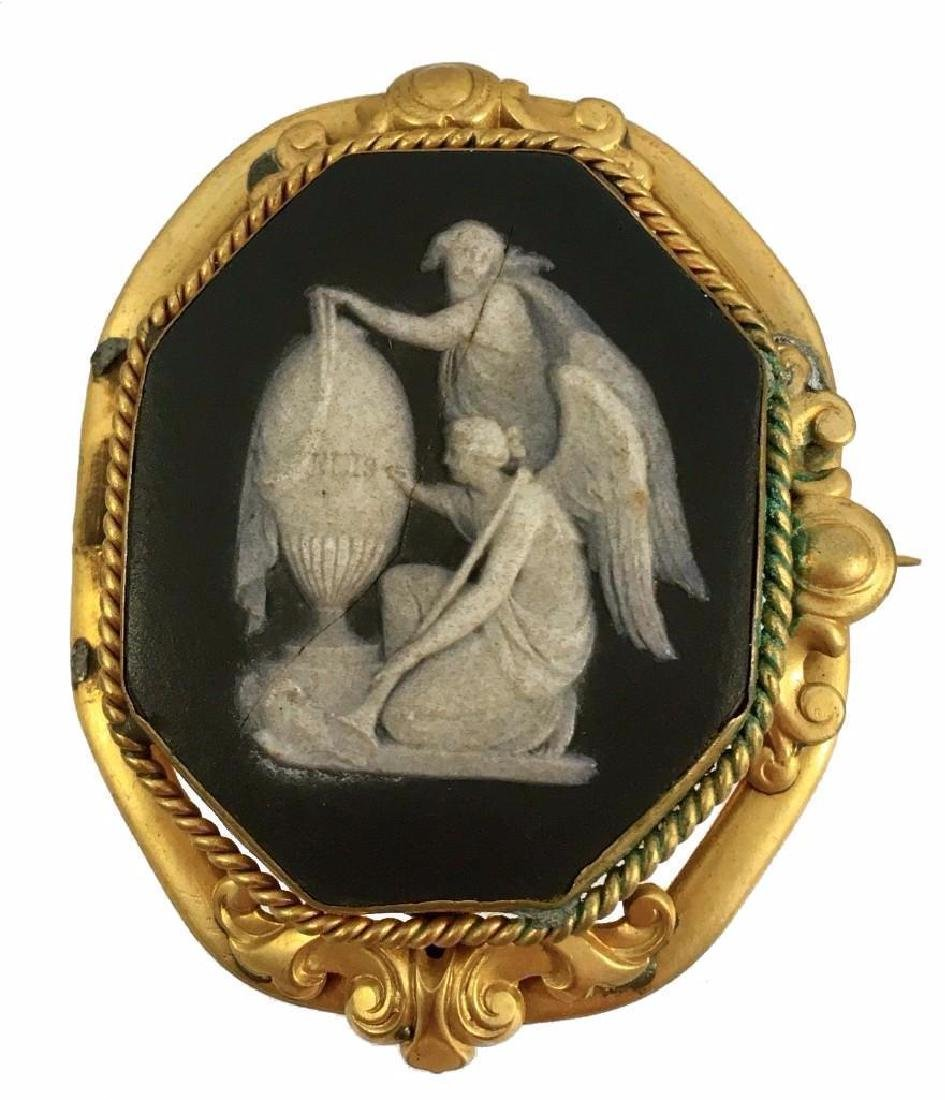 19thc Victorian Black Wedgewood Mourning Cameo Gold