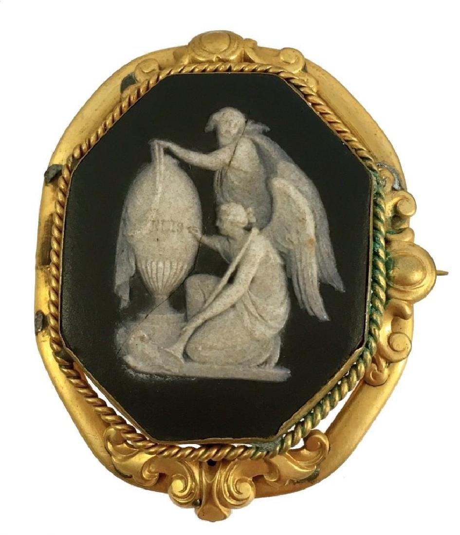 19thc Victorian Black Wedgewood Mourning Cameo Gold - 2
