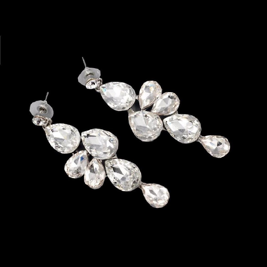 Gorgeous Rhodium Plated Clear Crystal Necklace Earrings - 2