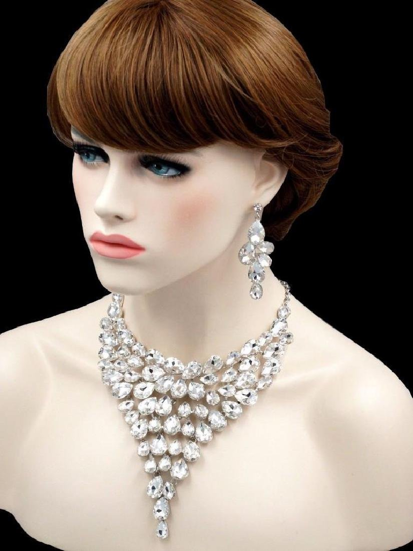 Gorgeous Rhodium Plated Clear Crystal Necklace Earrings - 3