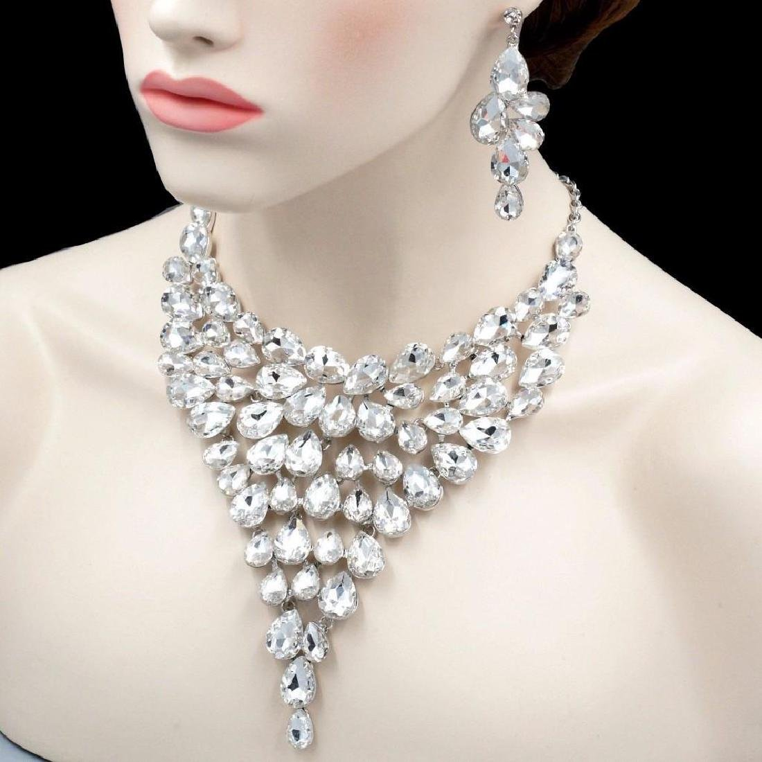 Gorgeous Rhodium Plated Clear Crystal Necklace Earrings - 4