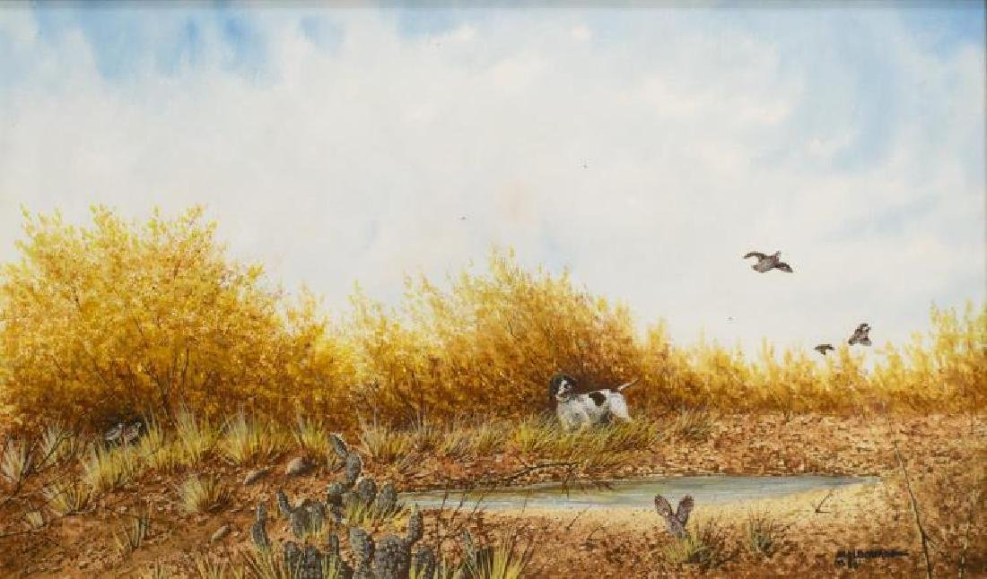 Daniel Maldonado (Texas) Quail & Pointer Watercolor