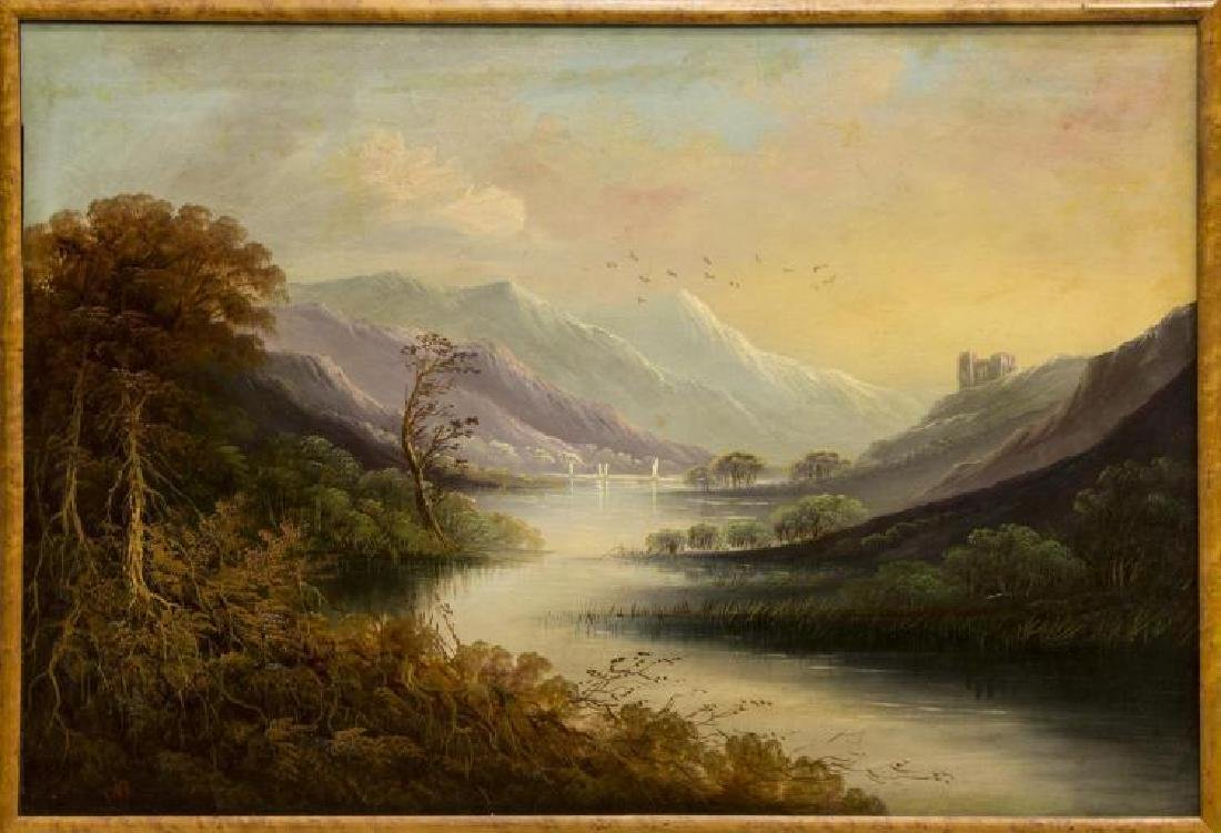 Framed Oil On Board Painting, Mountain Landscape