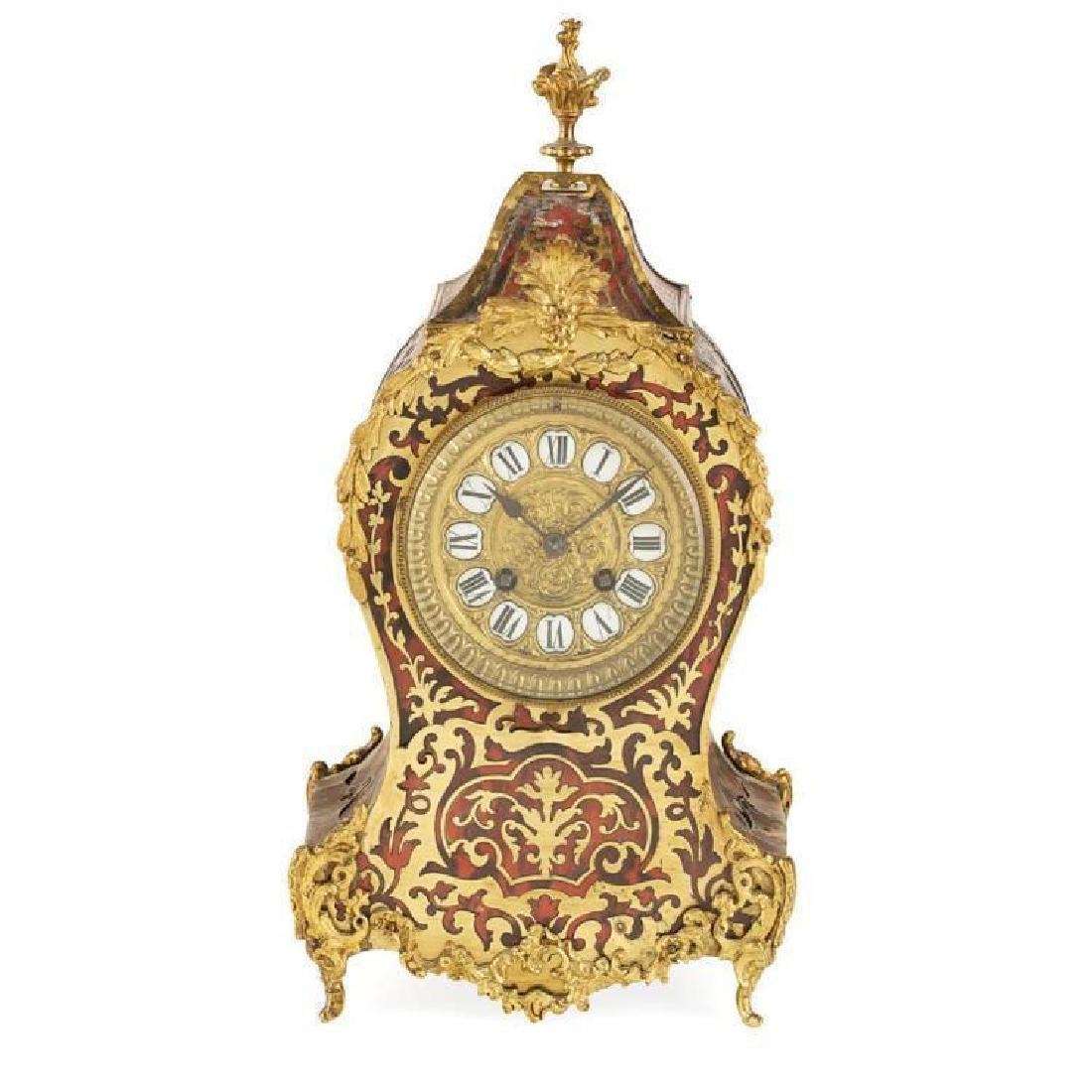Y French Louis Xv Style Boulle Mantel Clock 19th - 2